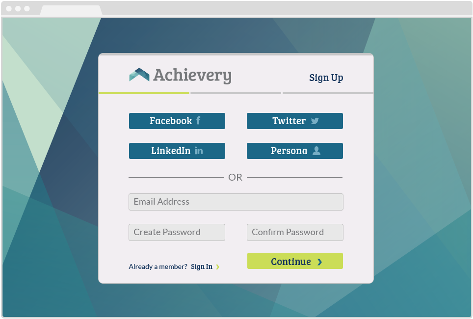 Achievery App, Sign Up Page