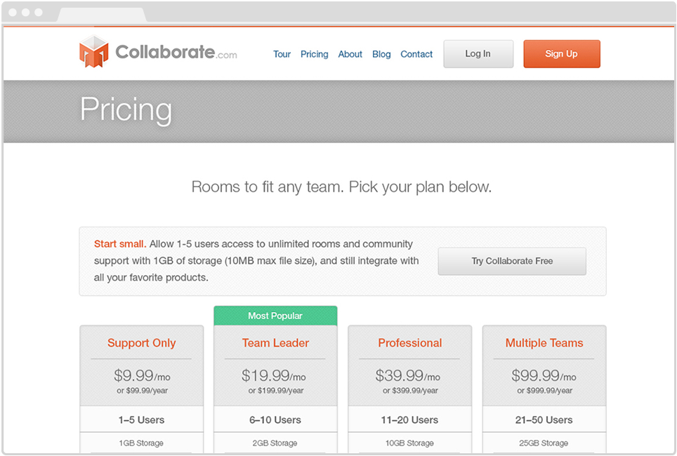 Collaborate Website, Pricing Page