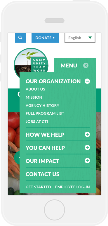 Community Teamwork Home Page Menu, on an iPhone