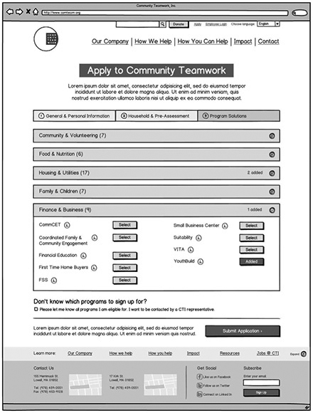 Community Teamwork Application Wireframe