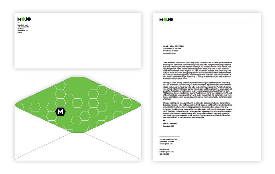 Mojotech stationery and envelopes with green graphics printed inside