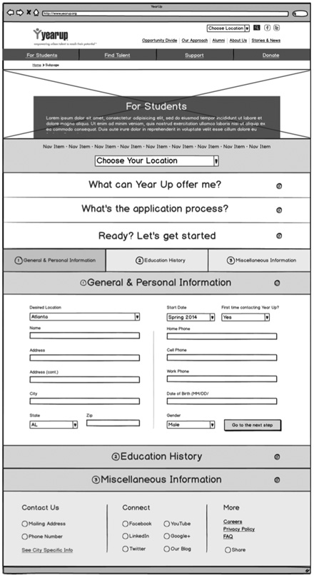 Yearup Application Wireframe