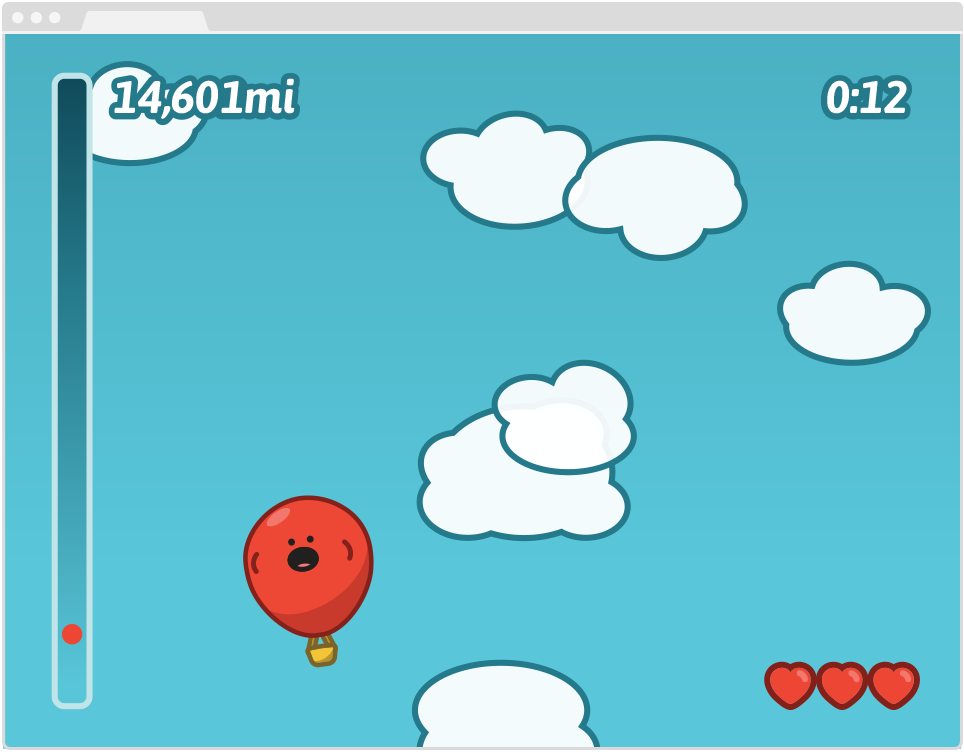 Zoom the Balloon, Game Level Screen