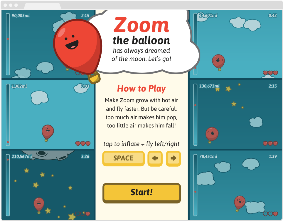 Zoom the Balloon, Pre-Game Screen